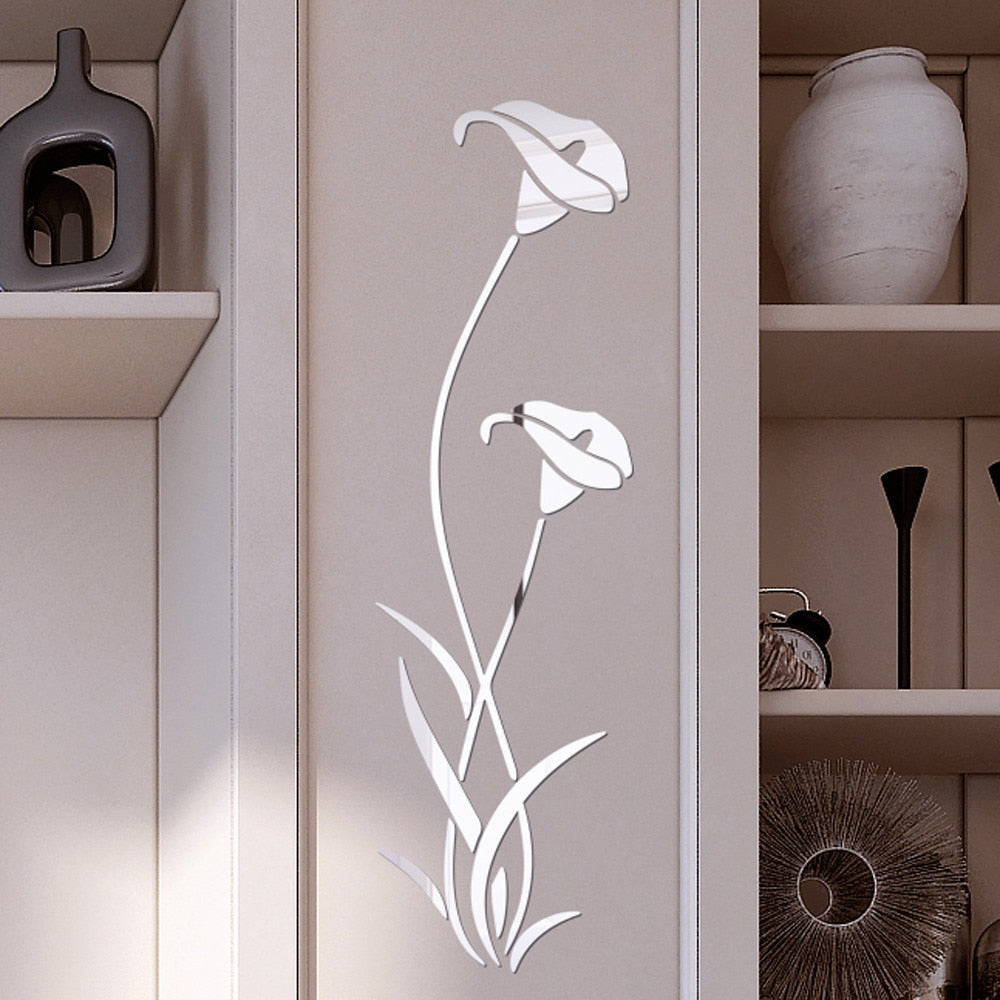 3D flower calla lily mirror stickers