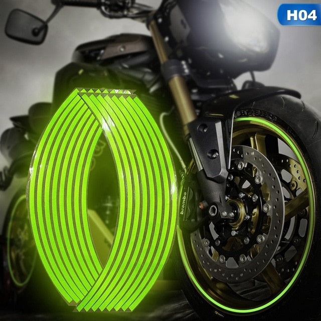 Motorcycle strips reflective wheel sticker