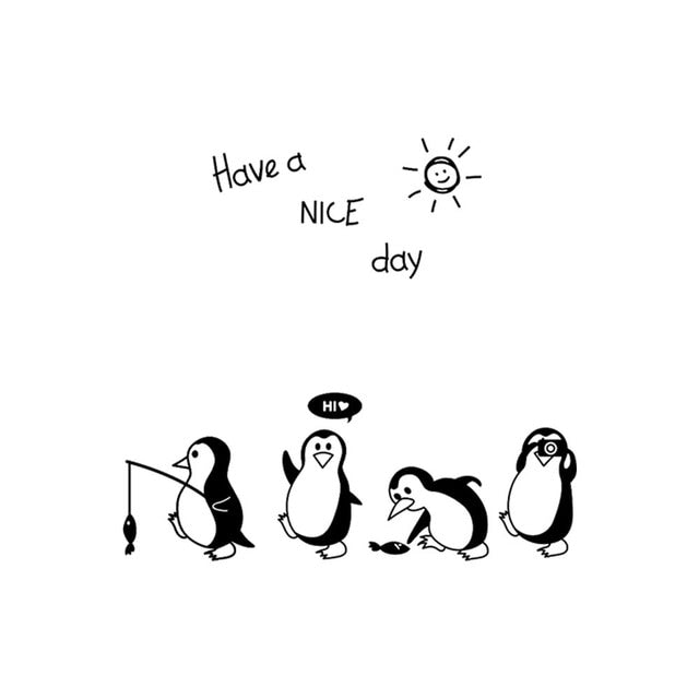 Fridge Have a nice day penguin stickers