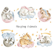 Load image into Gallery viewer, Animal stickers different patterns (planes, clouds, moon, stars, sleeping animals, pink unicorn and princess, rabbit in a plane)