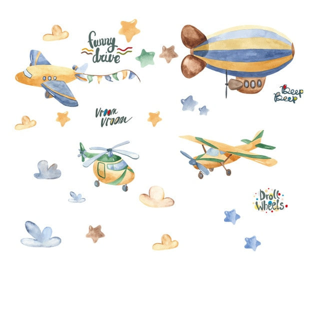 Animal stickers different patterns (planes, clouds, moon, stars, sleeping animals, pink unicorn and princess, rabbit in a plane)