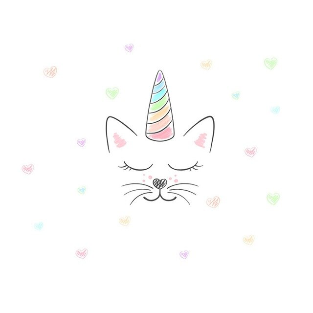 Cat unicorn head and hearts stickers