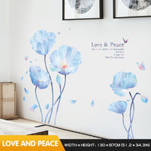 Load image into Gallery viewer, Blue flowers and butterflies with inscription stickers