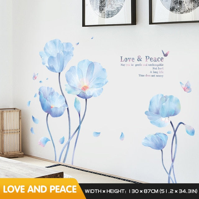 Blue flowers and butterflies with inscription stickers