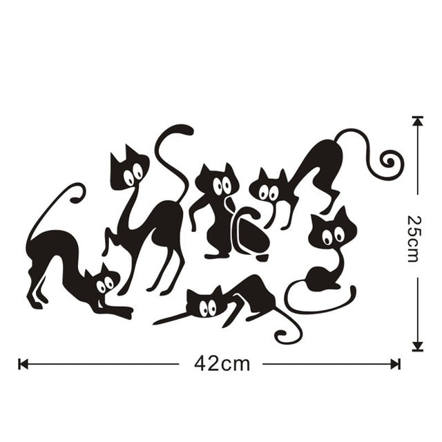 Six black cats in different positions stickers