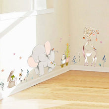 Load image into Gallery viewer, Cartoon Forest Flowe Elephant Rabbit Giraffe Animal Wall Stickers