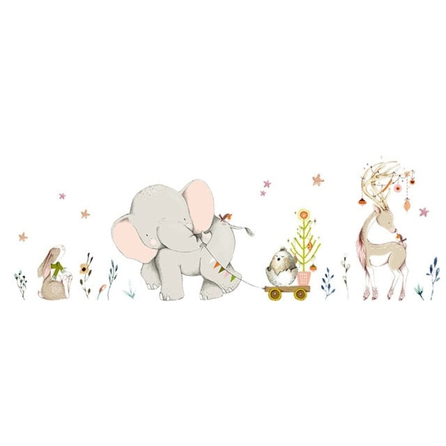 Cartoon Forest Flowe Elephant Rabbit Giraffe Animal Wall Stickers