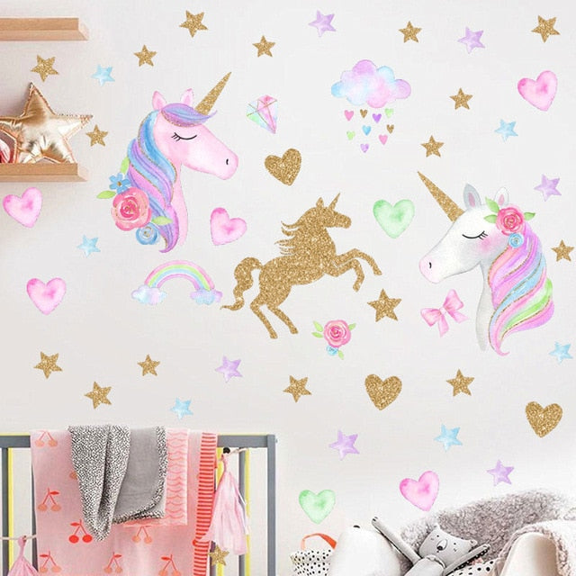 Unicorn stickers different patterns (stars, hearts, flowers, dots...)
