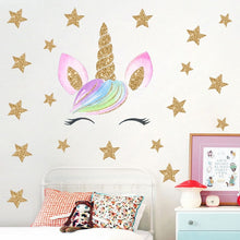 Load image into Gallery viewer, Unicorn stickers different patterns (stars, hearts, flowers, dots...)