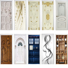Load image into Gallery viewer, 3D Door stickers different patterns (trompe-l'oeil door and architecture, shelves with wine bottles, ribbons, boat...)