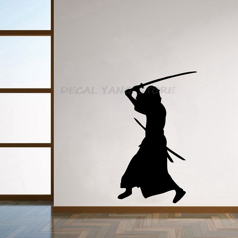 Samurai swinging a katana sticker