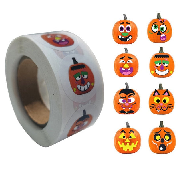 Halloween stickers 500 pcs (pumpkin, ghost, spider, bat, owl, witch, tree, mummy...)