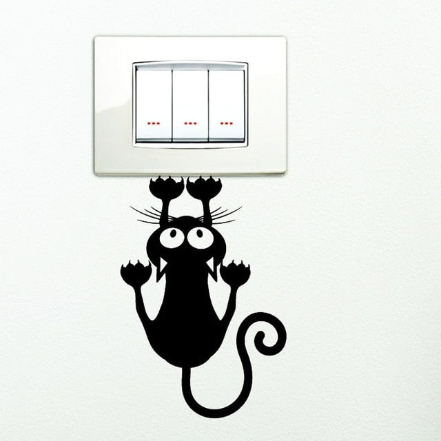 Switch sticker black kitten hanging