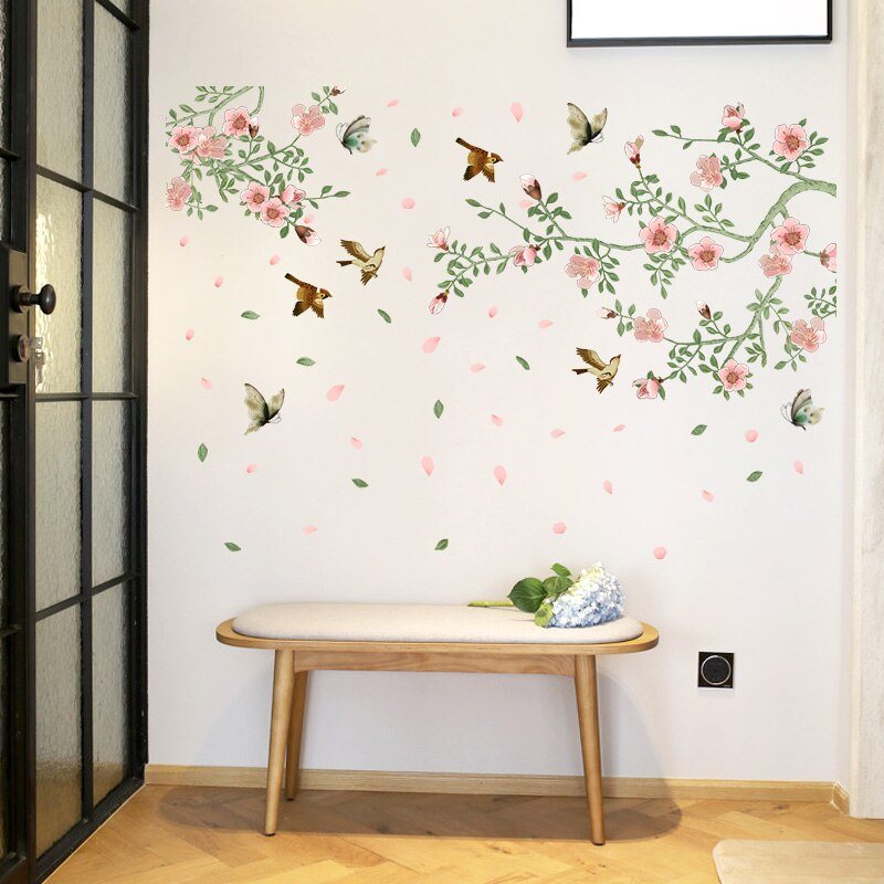Birds and bloomed branches stickers