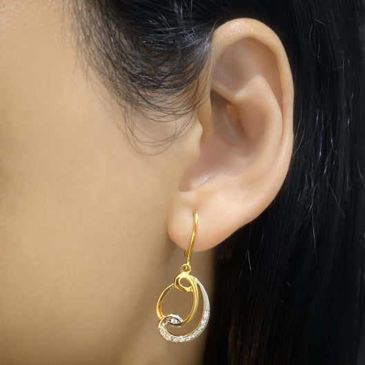 14K YG Diamond Hook Earring-1Pair