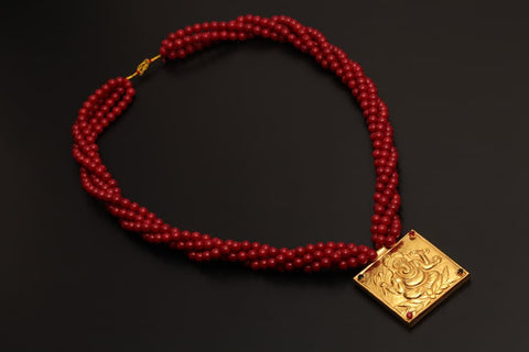 Traditional YG Jantar Red Coral Mala