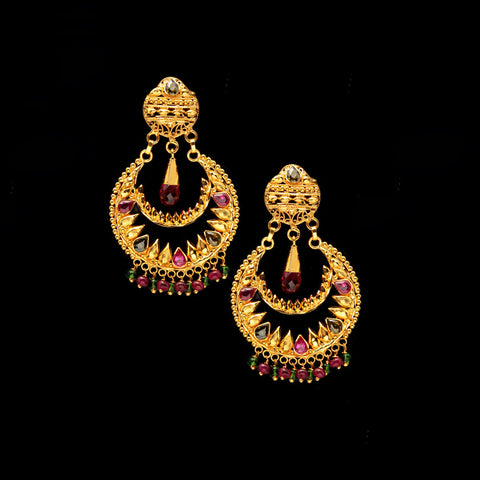 22K YG Women Ramleela Earring-1pair