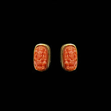 Load image into Gallery viewer, 14K YG Ganesh Coral Earring-1pair