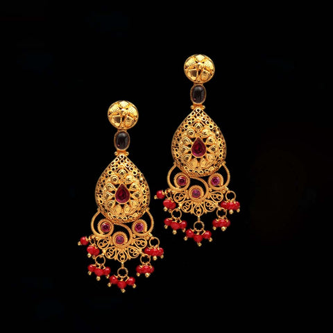 22K YG Women Long Earring-1pair