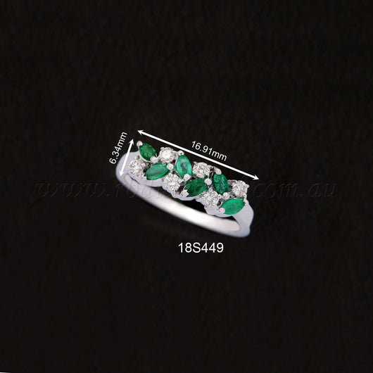18K WG Diamond Emerald Ring-1pc