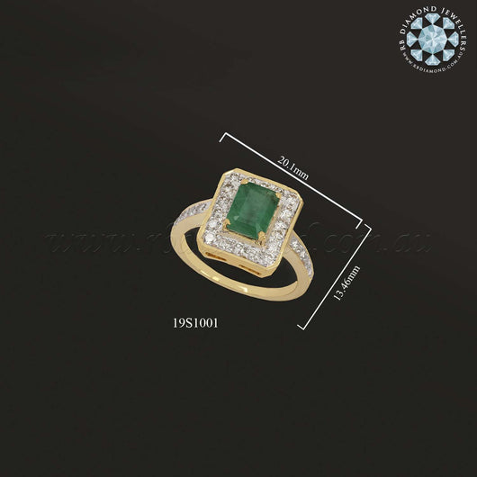 18K YG Diamond with Emerald Ring