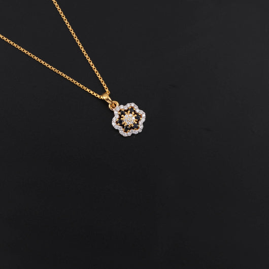 18K YG Diamond with Blue Sapphire Pendant-1pc