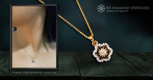 Load image into Gallery viewer, 18K YG Diamond with Blue Sapphire Pendant-1pc