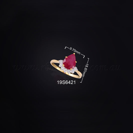 18K YG Diamond with Ruby Ring-1pc