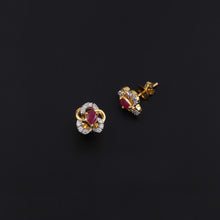 Load image into Gallery viewer, 14K YG Diamond with Ruby Earring-1Pair