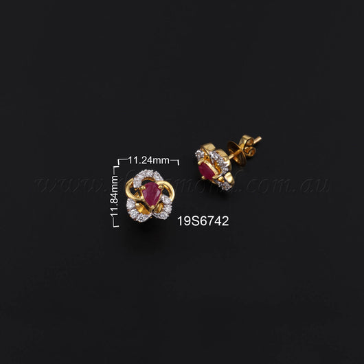 14K YG Diamond with Ruby Earring-1Pair