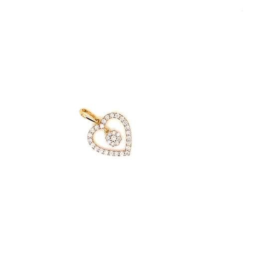 18K YG DIAMOND HEART PENDANT-1PC