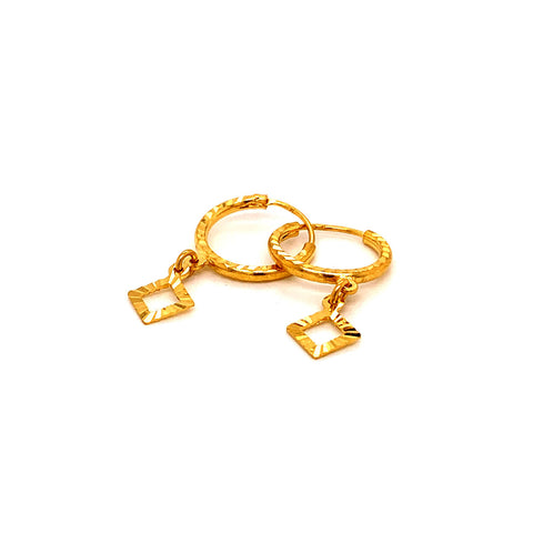 22K YG Woman charm Hoop Earring-1pair
