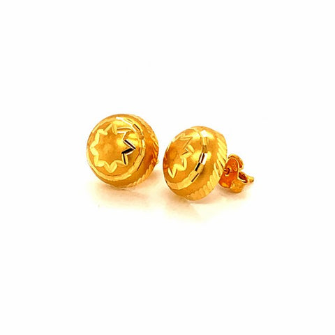22K YG Women Half Ball Stud Earring-1pair