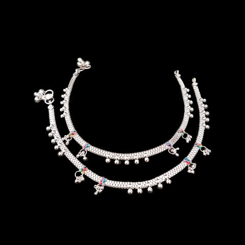 Women Sterling Silver Anklet Total Length 25-27cm