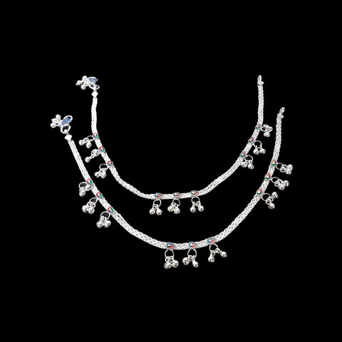 Women Sterling Silver Anklet Total Length 28-30cm