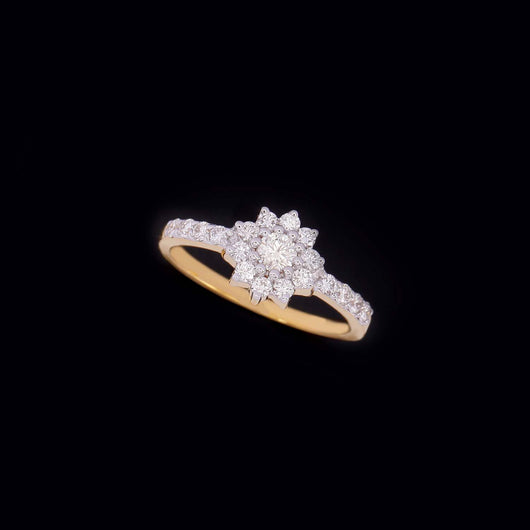 18K YG Prong Set Star Side Diamond Classic Women Diamond Ring-1Pc