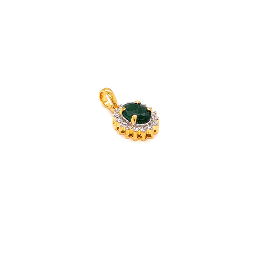 14K YG Prong Set Oval Emerald Women Diamond Pendant-1PC