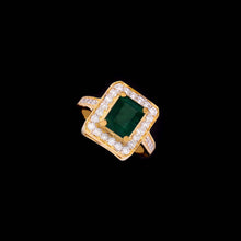 Load image into Gallery viewer, 18K YG Prong Set Emerald Cut Emerald Side Diamond Classic Women Diamond Ring-1Pc