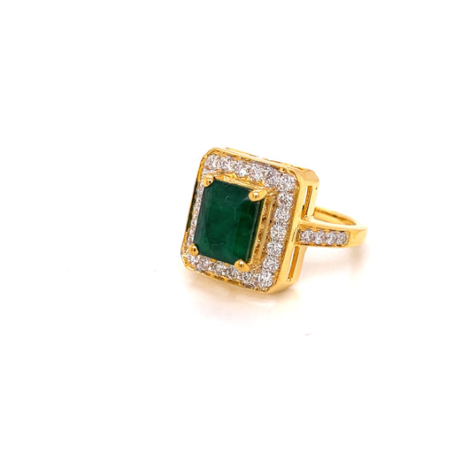 18K YG Prong Set Emerald Cut Emerald Side Diamond Classic Women Diamond Ring-1Pc