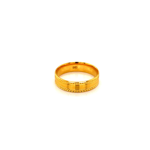 22K YG Tween Fancy Band Ring Size 7-8(H-I)-1pc