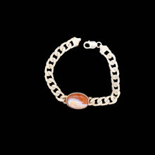 Load image into Gallery viewer, Sterling Silver Men's Bracelet with Simulated Red Stone Availability: Immediate