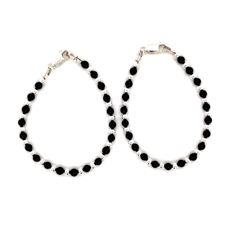 Baby/Toddler Onyx Sterling Silver Bracelet Total Length 12-14cm -1Pair