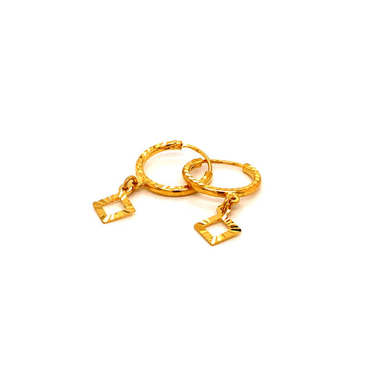 22K YG Women Charm Hoop Earring -1pair