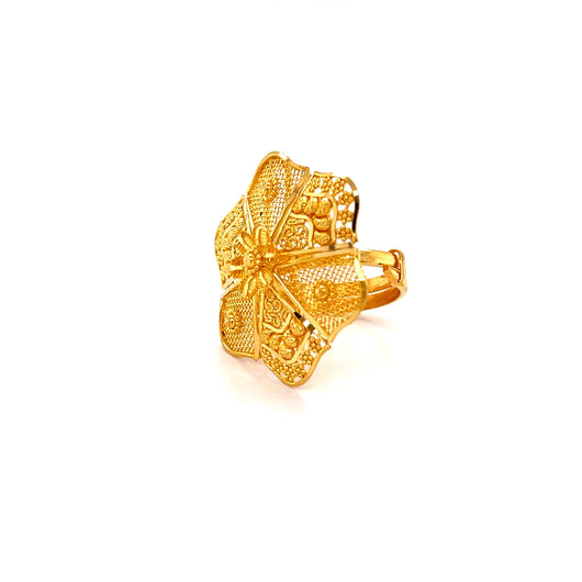 22K YG Women Umbrella Ring Size 11-13(L-M)-1pc