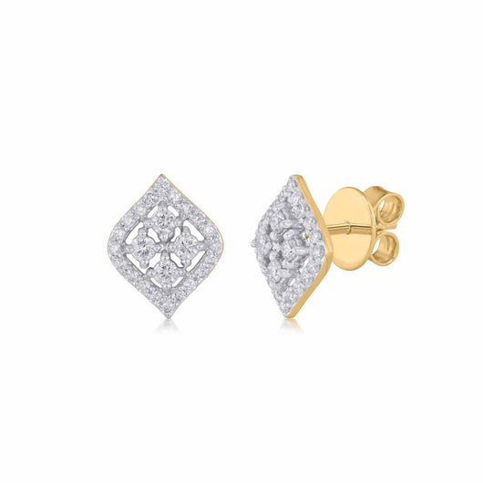 18K YG Diamond Earring-1pair