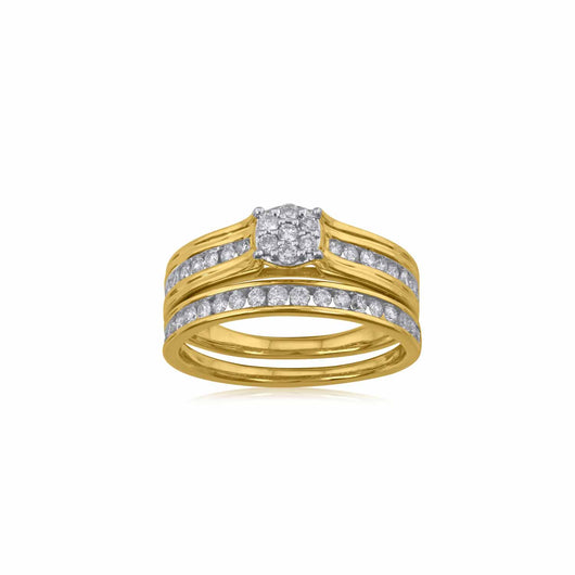 18K YG Pressure Setting Engagement Diamond Ring-1pc