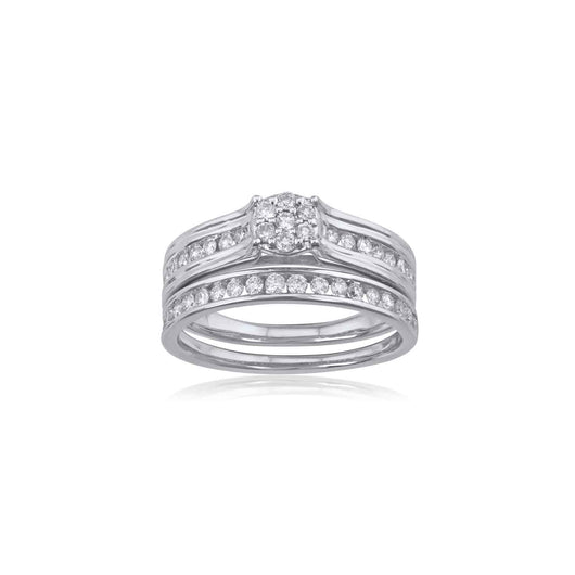 18K WG Solitaire with side Diamond Ring-1pc
