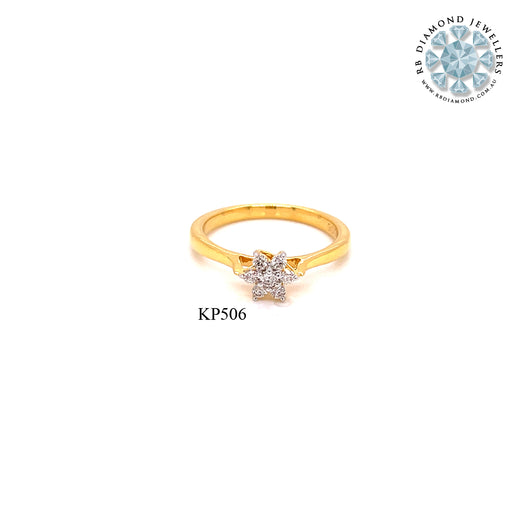 18K YG Prong Set Star Small Classic Women Diamond Ring-1PC