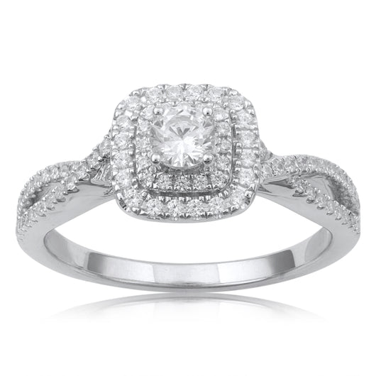 18K WG Prong Set Centre Solitaire Engagement Diamond Ring-1PC