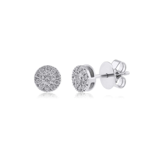 18K WG  Prong Set Centre Small Solitaire Women Diamond Stud Earring-1Pair